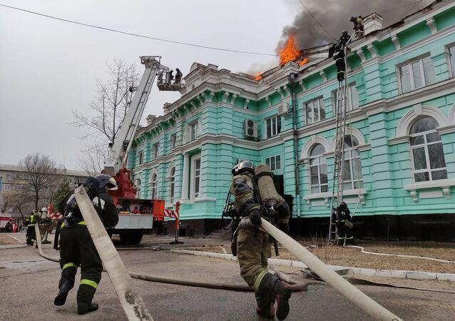 حريق في مشفى جراحة القلب التابعة لأكاديمية آمور الطبية الحكومية