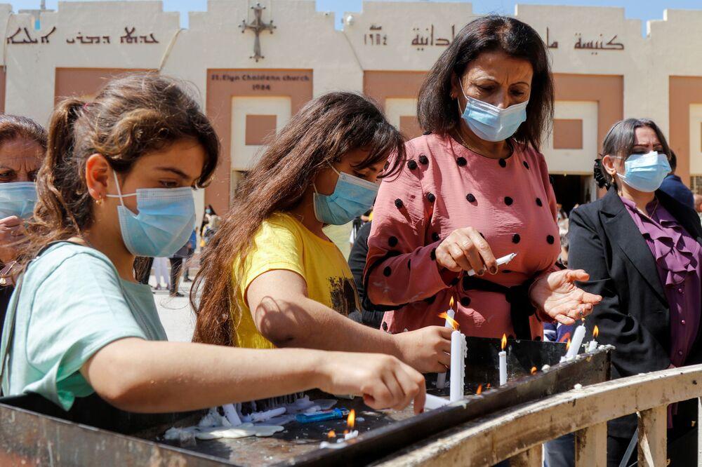 مراسم الاحتفال بعيد الفصح الكاثوليكي في بغداد، العراق 4 أبريل 2021