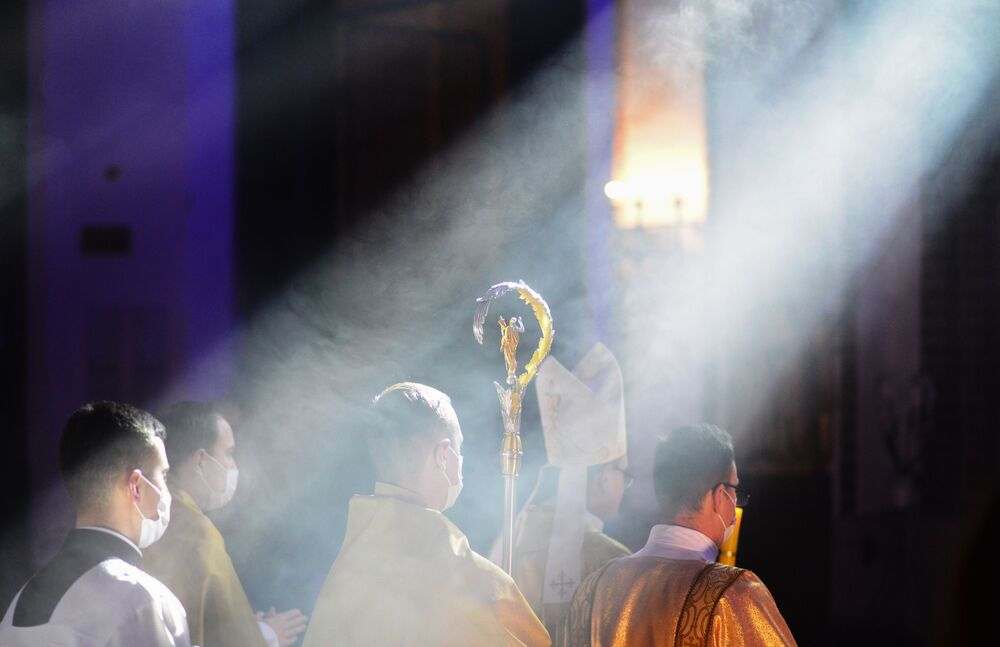 مراسم الاحتفال بعيد الفصح الكاثوليكي في وارسو، بولندا 4 أبريل 2021