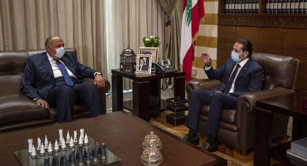 رئيس الحكومة اللبنانية سعد الحريري ووزير الخارجية المصري سامح شكري، بيروت، لبنان 7 أبري ل2021