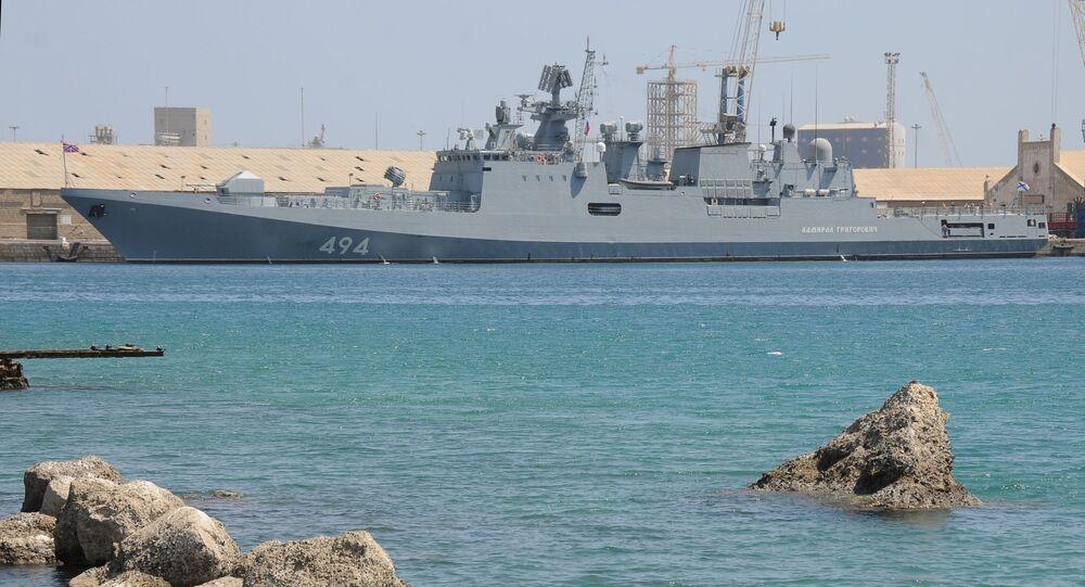 سفينة حربية روسية الأدميرال إيفان غريغوريفيتش تصل إلى ميناء بورتسودان، السودان 5 مارس 2021