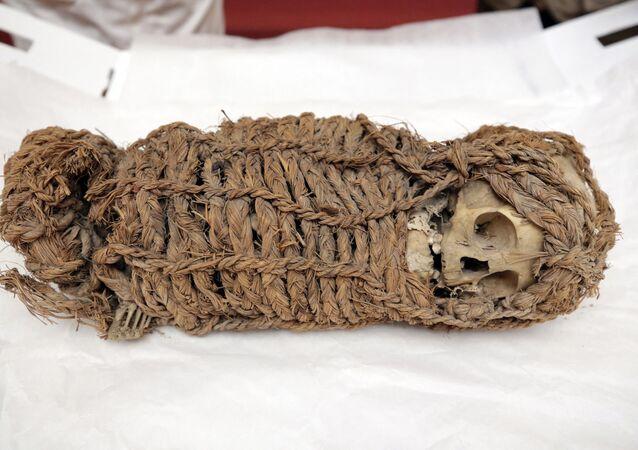 صورة نشرة أصدرتها وزارة الثقافة البيروفية لمومياء رضيع أيمارا عمرها 2000 عام