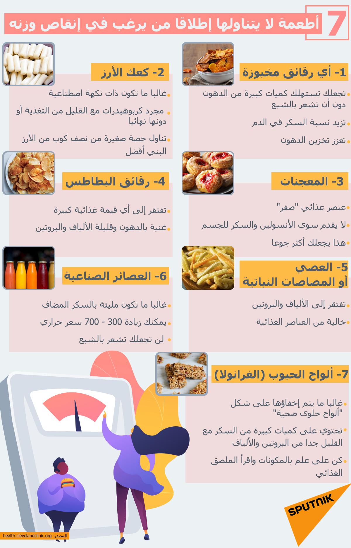 7 أطعمة لا يتناولها إطلاقا من يرغب في إنقاص وزنه