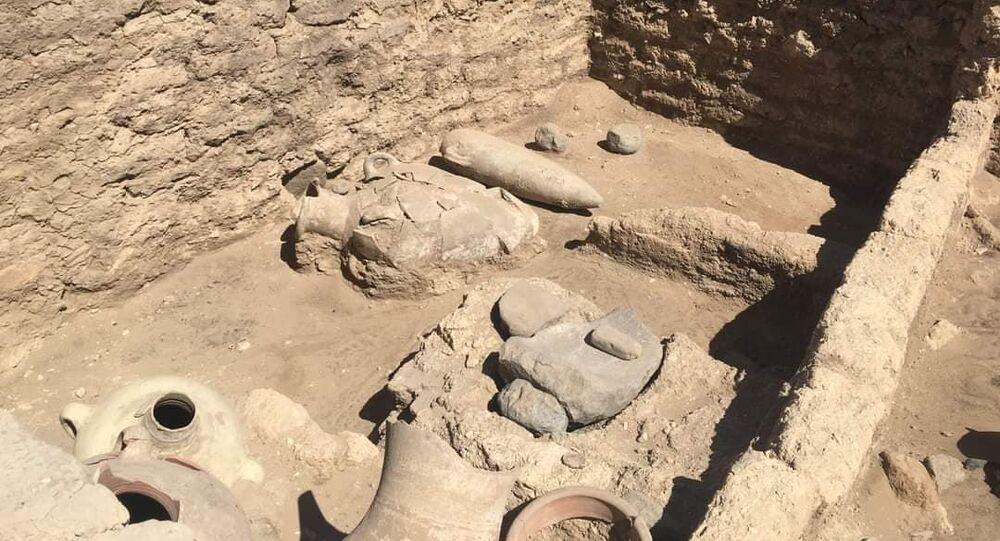 بعض الآثار الموجودة في المدينة الأثرية المكتشفة حديثا في الأقصر، مصر