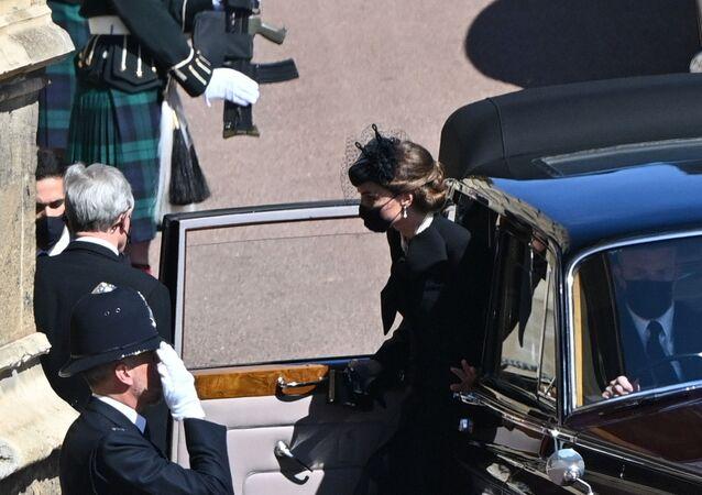 دوقة كامبريدج، كيت ميدلتون، لحظة وصولها قلعة وندسور لحضور جنازة الأمير فيليب، بريطانيا، 17 نيسان/ أبريل 2021