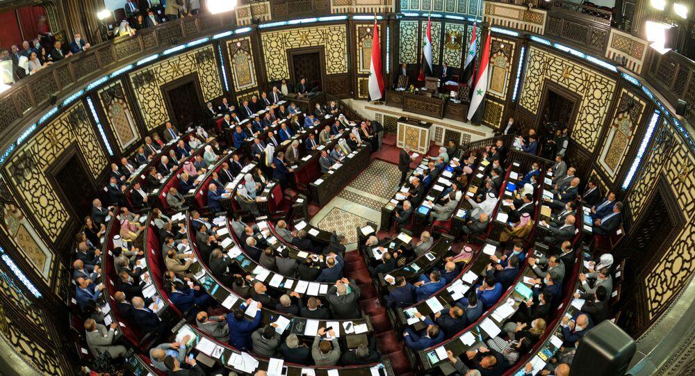 جلسة استثنائية عقدها مجلس الشعب السوري، إيذانا بإطلاق منافسات الانتخابات الرئاسية