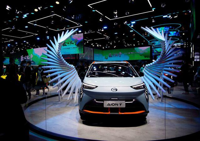 سيارة إليكترونية (GAC Aion Y) في معرض شنغهاي للسيارات، الصين 19 أبريل 2021