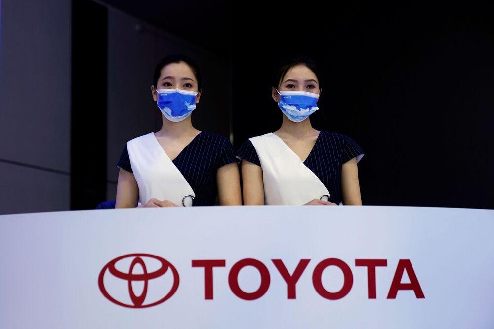 جناح (Toyota) في معرض شنغهاي للسيارات، الصين 19 أبريل 2021