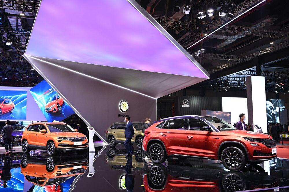 سيارة (Skoda) في معرض شنغهاي للسيارات، الصين 19 أبريل 2021