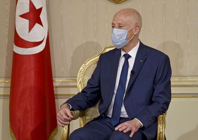 الرئيس التونسي قيس سعيد في قصر قرطاج، تونس 12 ديسمبر 2020