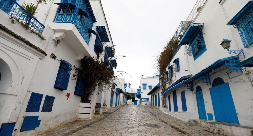 مظاهرات لصحفيين تونسيين في سيدي بو سعيد، تونس، 1 أبريل 2021