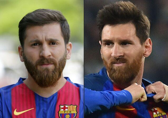 لاعب كرة القدم لنادي برشلونة، ليونيل ميسي وشبيهه من أفغانستان رضا باراستيه، 2017