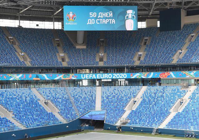 تحضيرات روسيا لاستقبال بطولة أوروبا 2020، ملعب غازبروم أرينا في مدينة سانت بطرسبورغ، روسيا 22 أبريل 2021