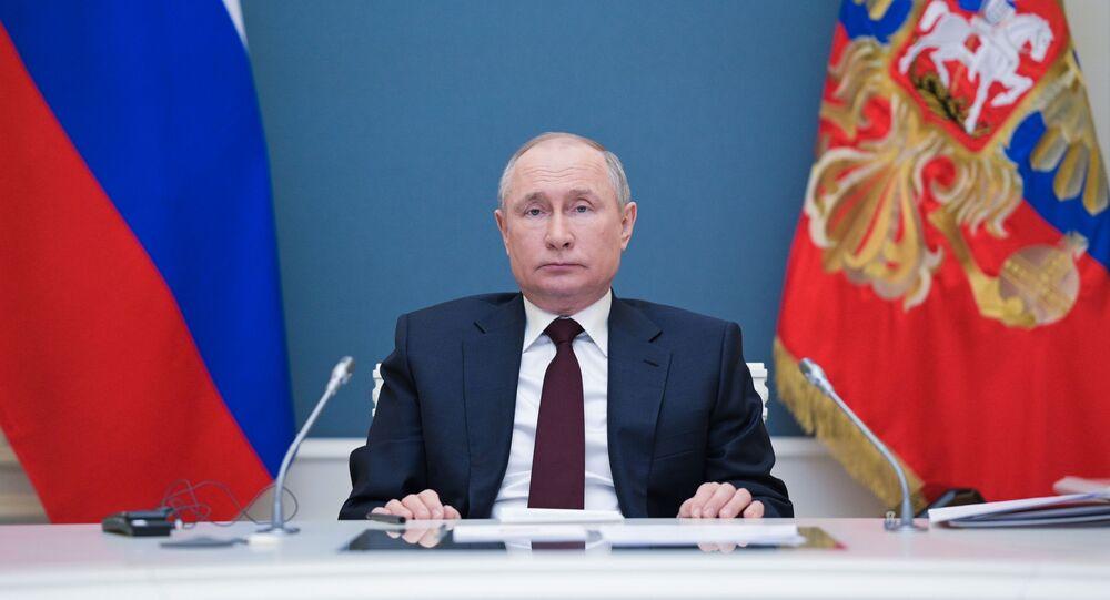 الرئيس الروسي فلاديمير بوتين يشارك في قمة المناخ عبر الإنترنت، موسكو، روسيا 22 أبريل 2021