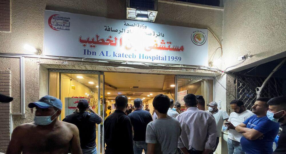 انفجار أسطوانات الأوكسجين بمستشفى ابن الخطيب في العاصمة العراقية