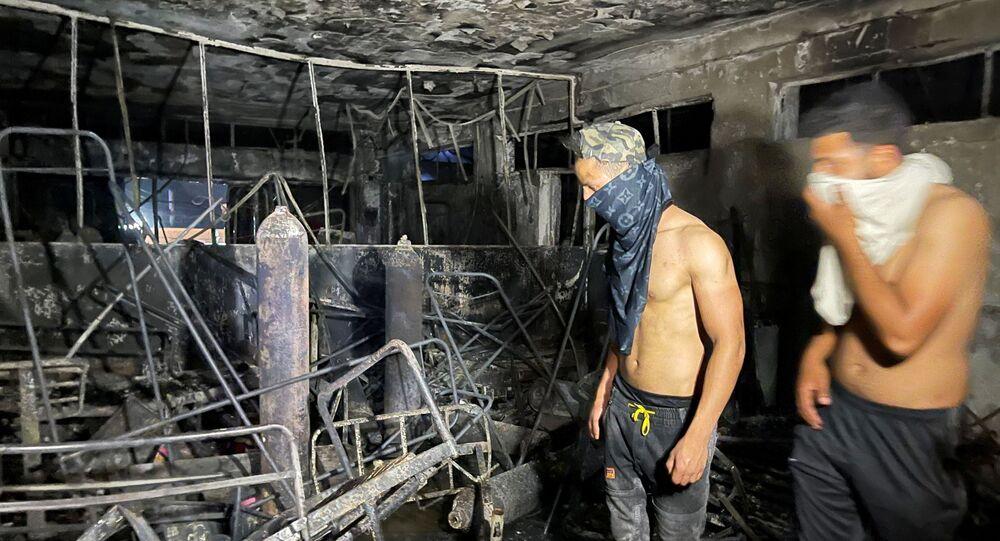 انفجار أسطوانات الأوكسجين بمستشفى ابن الخطيب في بغداد