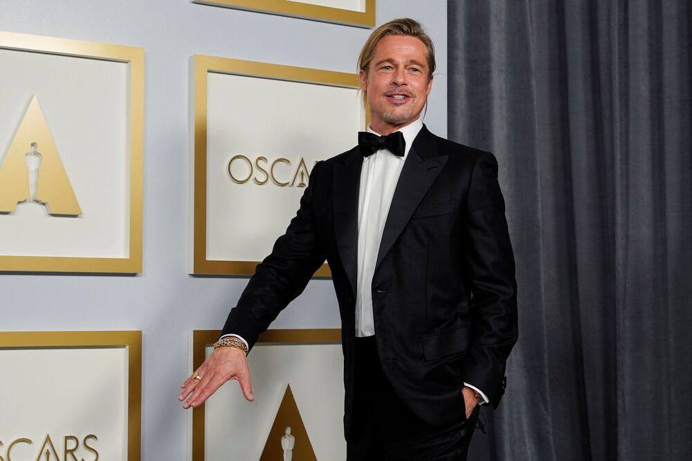 الممثل براد بيت، مراسم الحفل الـ93 لتوزيع جوائز أوسكار في لوس أنجلوس، كاليفورنيا، الولايات المتحدة 25 أبريل 2021