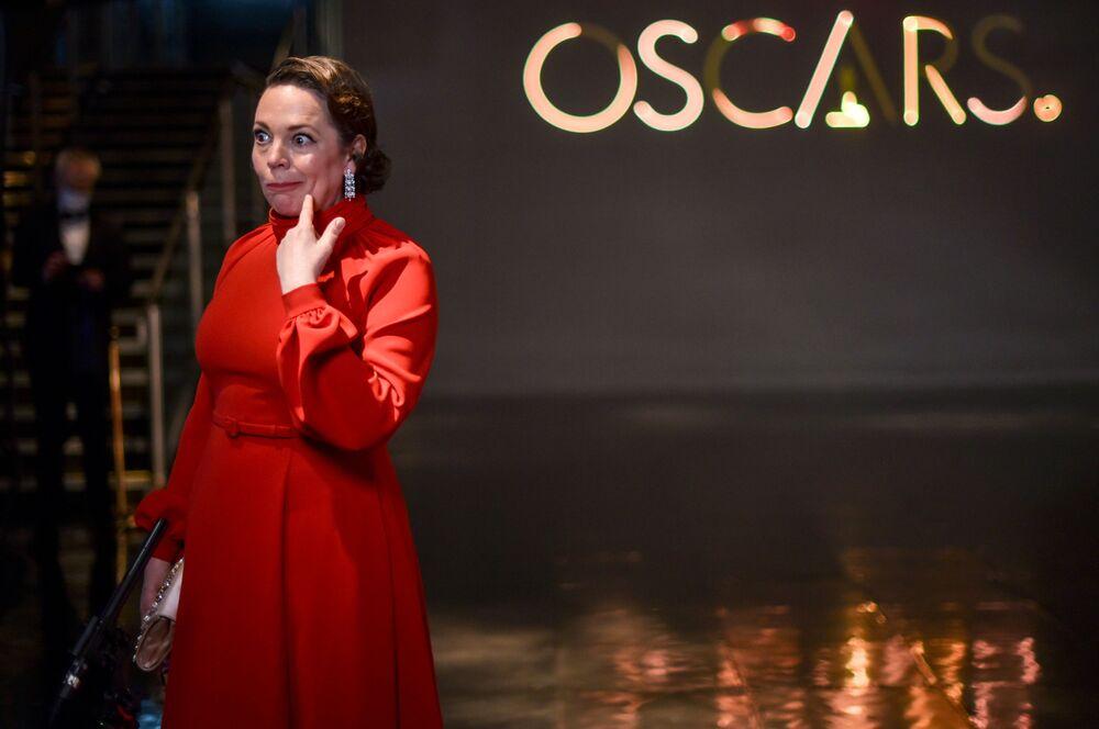 الممثلة أوليفيا كولان خلال مراسم الحفل الـ93 لتوزيع جوائز أوسكار في لوس أنجلوس، كاليفورنيا، الولايات المتحدة 25 أبريل 2021