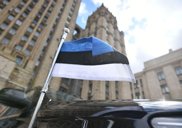 علم إستونيا، سفارة إستونيا، روسيا 28 أبريل 2021