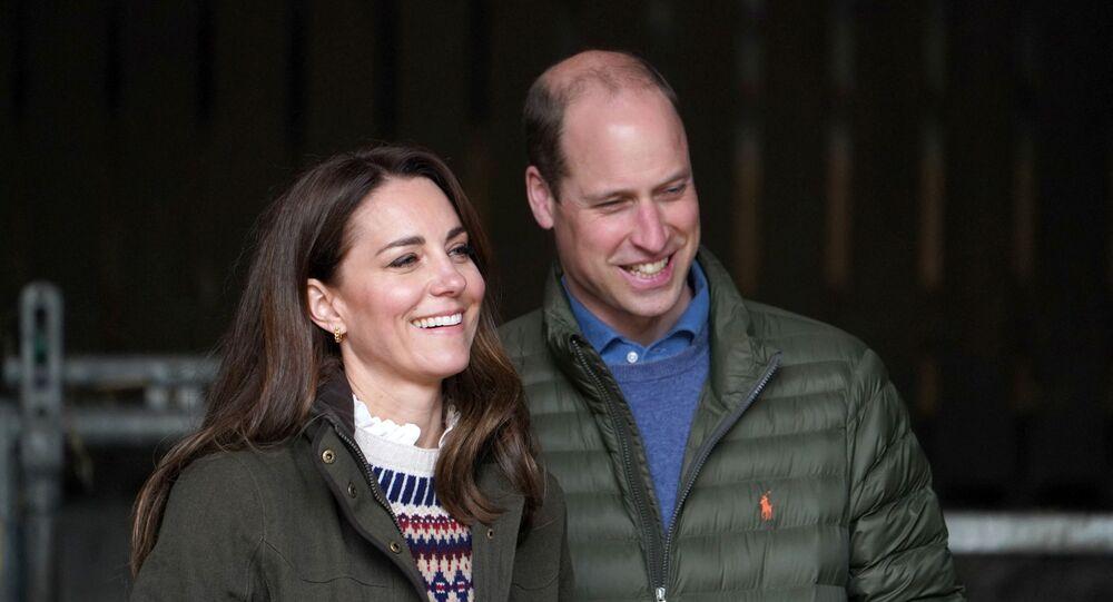 الأمير البريطاني وليام مع زوجته، كيت ميدلتون، 27 نيسان/ أبريل 2021