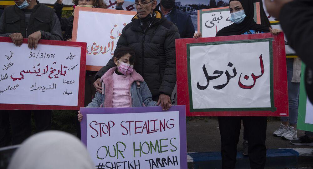 مواجهات بين أهالي حي الشيخ جراح وقوات الشرطة الفلسطينية والمستوطنين، القدس الشرقية، فلسطين، 30 مارس 2021