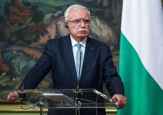 مؤتمر صحفي مشترك - وزير الخارجية الروسي سيرغي لافروف مع نظيره الفلسطيني رياض المالكي في موسكو، روسيا 5 مايو 2021