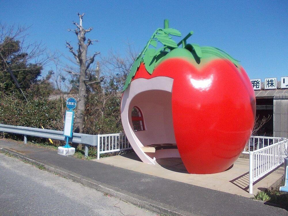 محطة الحافلات العمومية على شكل فاكهة التفاح في بلدة كوناجاي السابقة، والتي أصبحت الآن جزءًا من مدينة أشايا في ناغازاكي، اليابان
