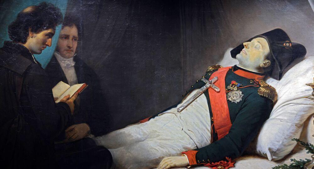 لوحة فنية رسمها الفنان الفرنسي جان بابتيست موزايس في عام 1843 تصور الإمبراطور الفرنسي نابليون الأول على فراش الموت