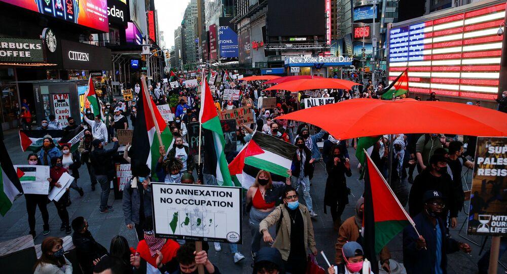 مظاهرة فلسطينيين في نيويورك، الولايات المتحدة 11 مايو 2021
