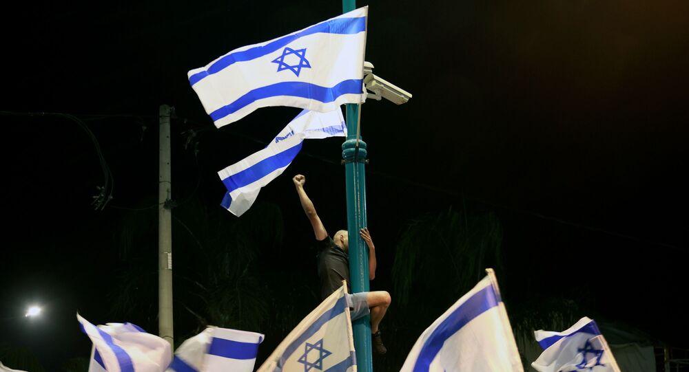 مظاهرات في مدينة تل أبيب إثر التصعيد العسكري بين قطاع غزة و إسرائيل، 11 مايو 2021