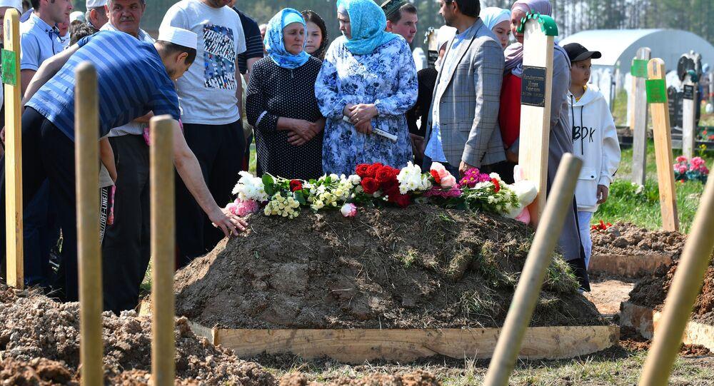 جنازة ضحايا حادث إطلاق النار في مدرسة قازان، روسيا 12 مايو 2021