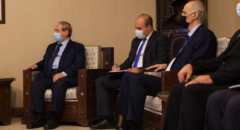 وزير الخارجية السوري فيصل المقداد يلتقي مع نظيره الإيراني جواد ظريف في دمشق، سوريا 12 مايو 2021
