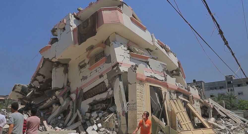 مدينة غزة بعد قصف عنيف وارتفاع عدد ضحايا قصف الطيران الحربي الإسرائيلي، قطاع غزة، فلسطين 13 مايو 2021