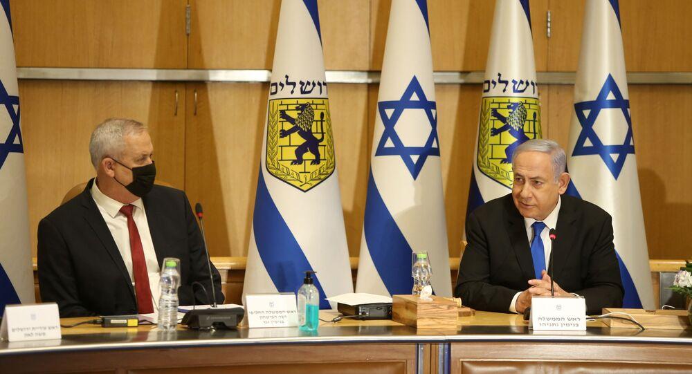 رئيس الوزراء الإسرائيلي بنيامين نتنياهو، ووزير الدفاع الإسرائيلي بيني غانتس، القدس 9 مايو 2021