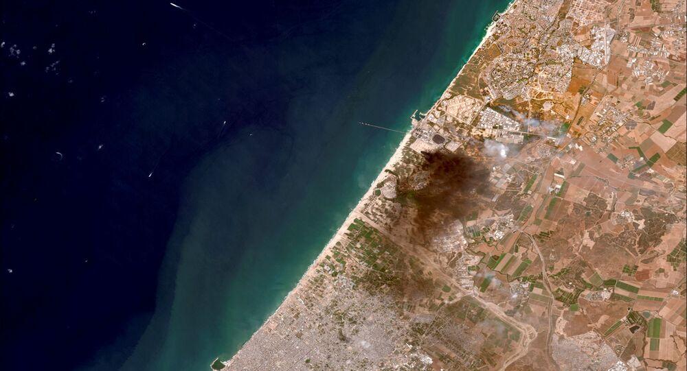 صورة قمر صناعي توضح التصعيد العسكري الأخير بين قطاع غزة و إسرائيل، 12 مايو 2021