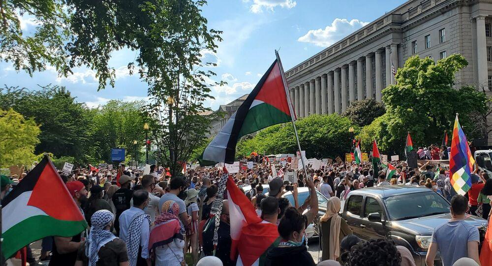 تظاهرات تضامنية مع الفلسطنيين في واشنطن