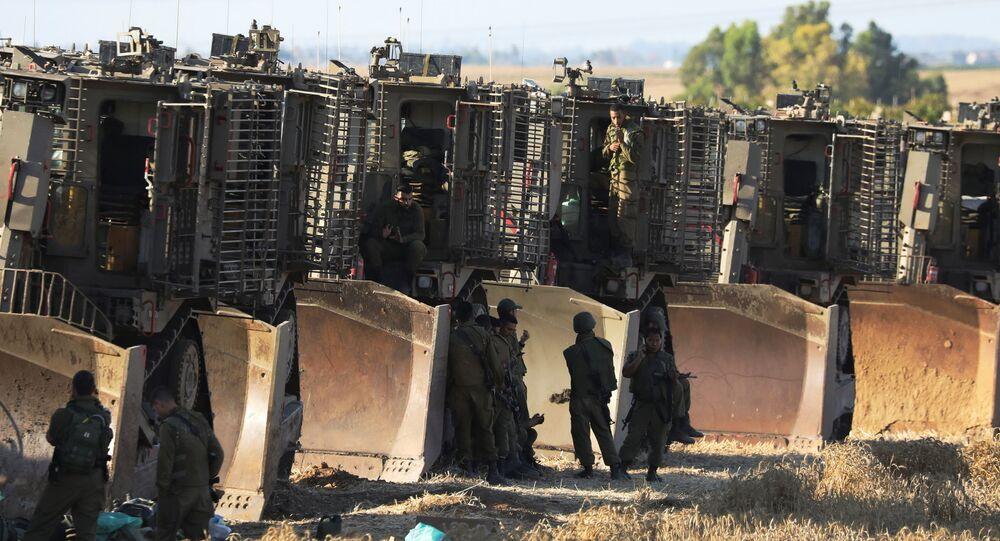 جنود الجيش الإسرائيلي على حدود قطاع غزة، فلسطين، إسرائيل 14 مايو 2021