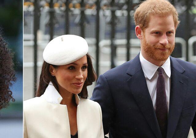 الأمير هاري وزوجته ميغان ماركل والإعلامية الأمريكية أوبرا وينفري