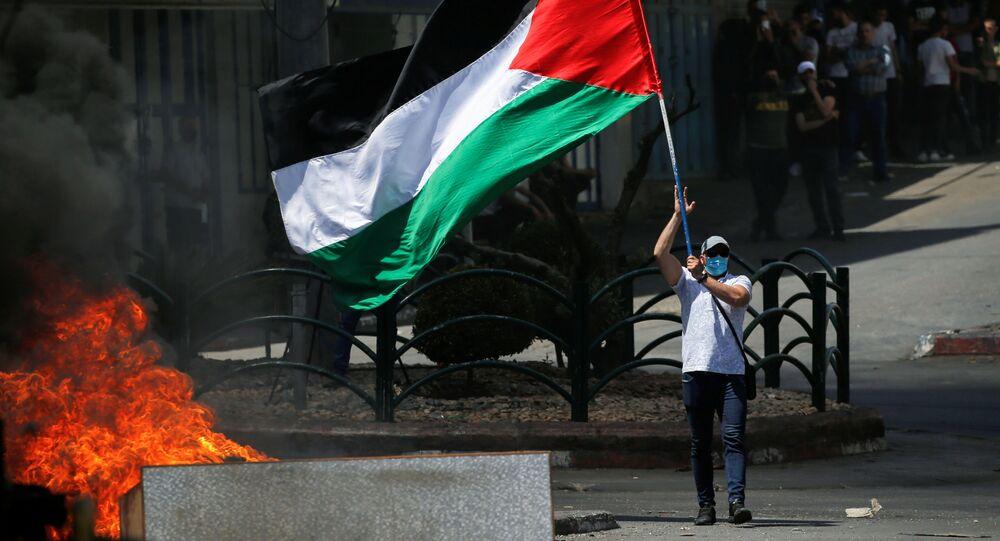 مظاهرات الفلسطينيين في الخليل، الضفة الغربية، فلسطين 18 مايو 2021