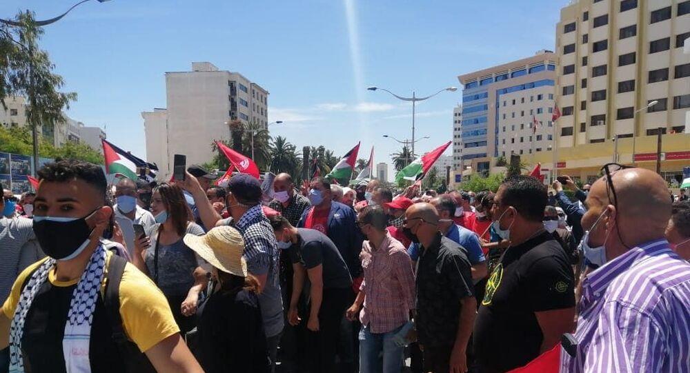 مسيرة وطنية لنصرة فلسطين ومناهضة للتطبيع  في تونس
