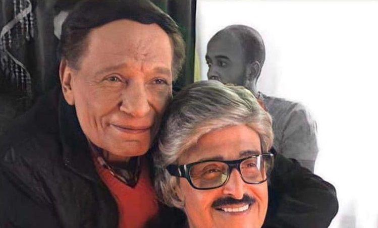 عادل إمام معانقا سمير غانم