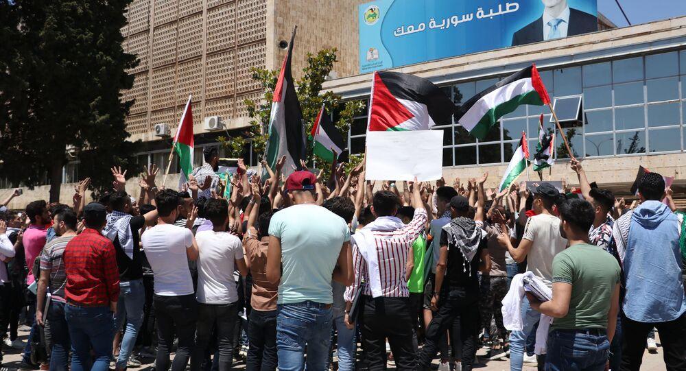 وقفة طلاب جامعة حلب بعنوان القدس أقرب من أي وقت مضى، سوريا 21 مايو 2021