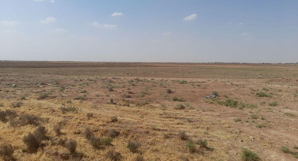 أراضي الفلاح عبد الحميد الساير من سكان ريف مدينة الحسكة، شمال سوريا 21 مايو 2021