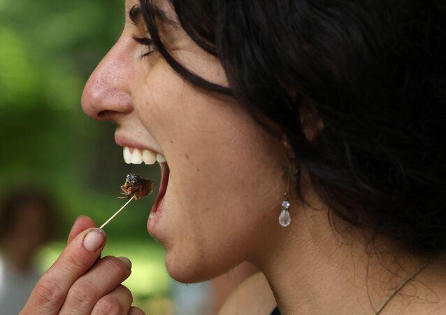 البستانية آني صوفي سيمارد من مدينة إليكوت، تتذوق حشرة الزيز المحمصة خلال مهرجان سيكادا في حديقة دكتور جيم ديوكز غرية فارماسي في كروفتون، بولاية ماريلاند 22 مايو 2021