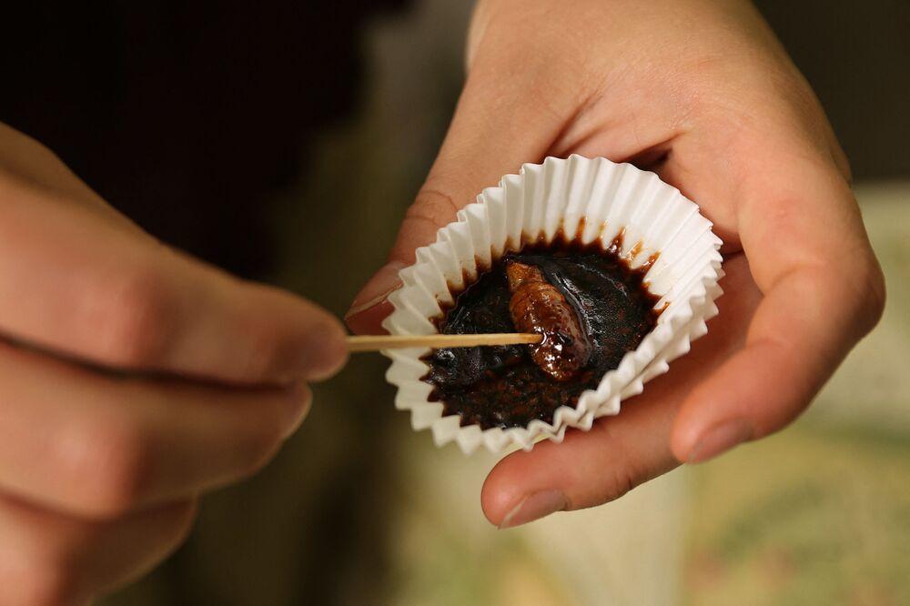 فتاة تتذوق حشرة الزيز المحمصة مع صوص من الشوكولا خلال مهرجان سيكادا في حديقة دكتور جيم ديوكز غرية فارماسي في كروفتون، بولاية ماريلاند 22 مايو 2021