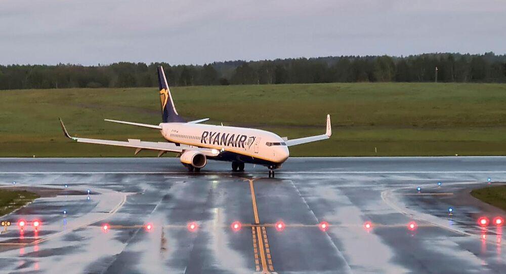 طائرة ريان إير، التي كانت تقل المعارض البيلاروسي رومان بروتاسيفيتش على متنها، في مطار مينسك، بيلاروسيا 23 مايو 2021
