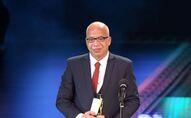 Egyptian actor Sherif Desoky receives an award for Best Actor during the closing ceremony of the 40th Cairo International Film Festival (CIFF) at the Egyptian Opera House in Cairo, on November 29, 2018. (Photo by Mohamed el-Shahed / AFP)