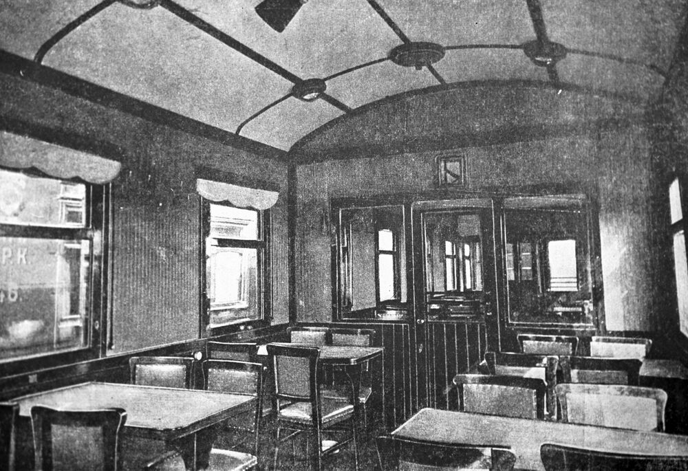 التصميم الداخلي لمطعم في قطار، عام 1933