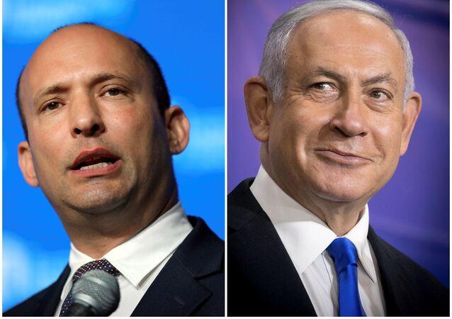 رئيس الوزراء الإسرائيلي بنيامين نتنياهو وزعيم حزب يمينا نفتالي بينيت