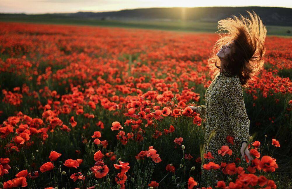 فتاة في حقل أزهار بالقرب من بلدة سيرين في حي باختشيساراي، شه جزيرة القرم، روسيا 30 مايو 2021